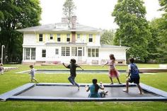 An in-ground tramp in the backyard!  Can this happen in Houston with our mosquitos?  This is the Novogratz country house.