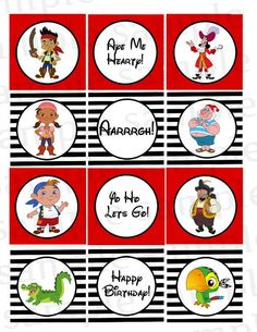 Jake and the Neverland Pirates Cupcake Toppers by PinkPaperInvites, $3.50