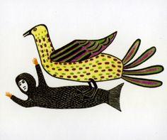 "Sedna with Spotted Bird, 1982 Lucy Qinnuayuak stonecut & stencil, ed. 50, 16"" × 24"""
