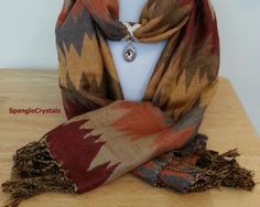 Warm Earth tone Autumn Fall Color Scarf with Jeweled Pendant Scarf Holder. Fall! Football Games! Gorgeous Fall Colors! Leaves Falling! by SpangleCrystals on Etsy