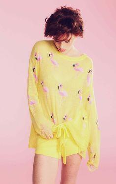 wildfox yellow flamingo sweater - Google Search