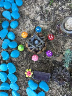 The fairies are having a campfire with their new fire pit and mushroom seats!