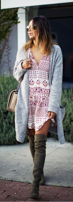 Long Cozy Cardi , Printed Little Shirt Dress and Over the Knee Boots by Sincerely Jules