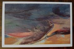 """Abstract Miniature Oil Painting Card """"Overcast"""" 5x8 by Judy McSween BlueGray and Orange One of a Kind on Etsy, $20.00"""