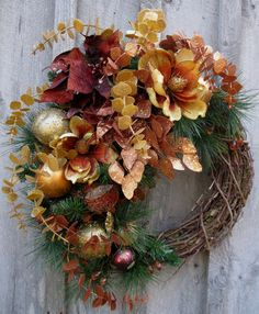 Christmas Wreath, Holiday Designer Decor, Woodland Door Wreath, Elegant Christmas Décor via Etsy