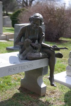 Mollie Graham Jackson (1939-97), Salem Cemetery in Winston Salem, NC. A cat & a book, not a bad way to be remembered. Her husband, the noted artist, Billy Maxwell Jackson was the sculptor. The inscription with her name & dates of birth & death are on the left end of the bench. Mrs. Jackson's godchild said that the cat is Misty, a calico Ragdoll, & the book is, perhaps, a Mary Higgins Clark mystery.   #monument #gravestone #headstone