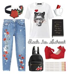 """""""Back to school in roses"""" by texaspinkfox ❤ liked on Polyvore featuring MANGO, Markus Lupfer, Kate Spade and WithChic"""