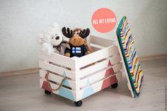 Купить Ящик для игрушек с пуфиком - комбинированный, ящик для хранения, ящик для игрушек, интерьер, дизайн интерьера