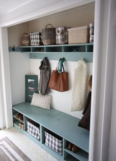Closet Mudroom Bench with Hinge Up Boot Storage Compartment Closet Mudroom Bench with Hinge Up Boot Storage Compartment AMB DIY Budget Recipes S… – Mudroom Entryway Front Closet, Entry Closet, Closet Mudroom, Bench Mudroom, Closet Bench, Closet Storage, Closet Redo, Double Closet, White Closet