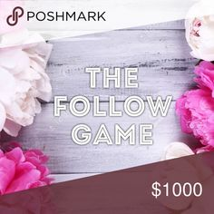Let's grow our followers! Like, follow, share! 💕 Welcome to my first follow game! 🤗 To participate: 1) Like this listing 2) Follow the other users who have liked this listing 3) Share to your feed and watch your followers grow! Check back often for more followers! 💕😎 Other