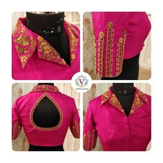 Stunning pink color designer blouse with collar. Blouse with floral design hand embroidery work on sleeves and collar. Simple Blouse Designs, Stylish Blouse Design, Designer Blouse Patterns, Fancy Blouse Designs, Blouse Neck Designs, Blouse Styles, Collor, Swag, Saree Blouse