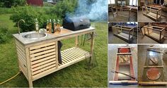 Wonderful DIY Perfect Portable Outdoor Kitchen This DIY portable kitchen is easy to move and store it in your garage or shed to keep it protected from outdoor elements. And you don't need spend much . Backyard Projects, Outdoor Projects, Home Projects, Outdoor Kitchen Design, Diy Kitchen, Outdoor Kitchens, Backyard Kitchen, Kitchen Ideas, Big Backyard