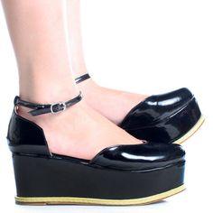 Black-Patent Closed Toe Ankle Strap Women Flatform Sandals Shoes