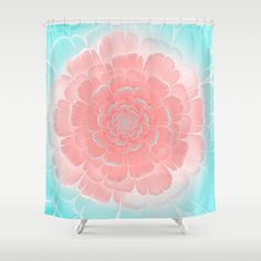 Romantic aqua and pink flower, digital abstracts Shower Curtain #OksanaAriskina #Artworks #HomeDecor #FineArtPrints #FineArtAbstract #Fractal #Abstract #ArtForSale #Blue #Pink #Peach #Coral #Flower #society6 #society6art