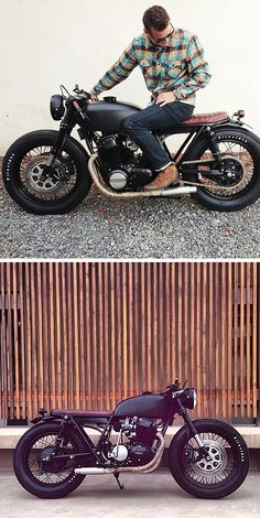 Matte black Honda CB750 cafe. Love the matching seat and grips, and great-looking Firestone Deluxe Champions. They're perfect for the bike,