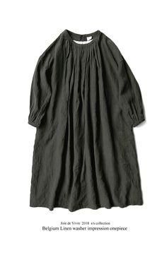 BerryStyle: Joie de Vivre 벨기에 린넨 와셔 인플레이션 숀 원피스 | 라쿠텐 일본 Vintage Apron Pattern, Aprons Vintage, Linen Dresses, Cute Dresses, Sewing Clothes, Korean Fashion, Short Sleeve Dresses, Tunic Tops, One Piece