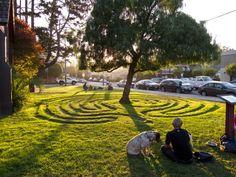 Santa Cruz labyrinth at sunset.