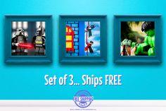 Kids Bedroom Wall Art - Set of 3 LEGO® Superhero Art Prints