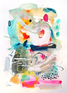 Abstract painting on paper Original mixed media by VictoriAtelier
