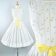 Vintage 50s Jerry Gilden Dress / 1950s White Cotton Sundress
