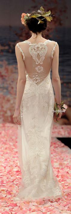 I love (LOVE) the illusion of the lace down the back. This is so so pretty.  Claire Pettibone - 'Alma' Spring 2013.