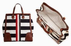 Brooks Brothers Stripe Mackintosh Tote