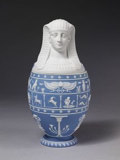 Jaspweware vase and cover in the form of an Egyptian Canopic jar, Josiah…