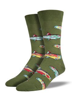 Hook the big fish while wearing trout socks. Show off your love of fishing with fishing socks! Featuring colorful rainbow trout swimming around your ankles. Mens Novelty Socks, Trout Fishing, Ice Fishing, Fishing Tips, Fisherman Gifts, Fish Man, Green Lake, Fashion To Figure, Fish Swimming