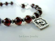 Garnet bracelet genuine deep red gemstones by LetLooseJewelry