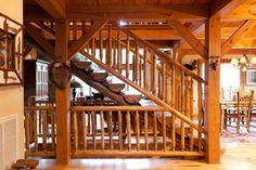 timber frame interior stairs