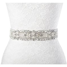 Redowa Vintage Rhinestone Beaded Wedding Dress Bridal Sash Belt Wide ($24) ❤ liked on Polyvore featuring accessories, belts, rhinestone sash belt, vintage belt, rhinestone belts, beaded bridal belt and beaded belts