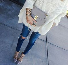 Cable knit sweater + studded heels.
