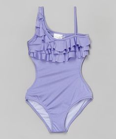 This Lilac Ruffle Asymmetrical One-Piece - Girls by 9's Swimwear is perfect! #zulilyfinds, $47.99 for a little girls bathing suit is a bit much but it sure is cute!