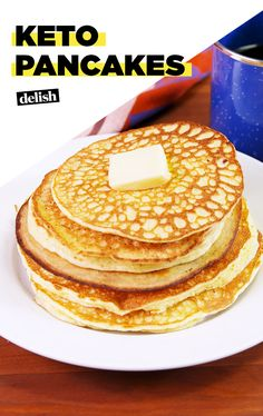 If you're on the keto diet, you need these pancakes. Get the recipe at Delish.com. #recipe #easy #easyrecipe #breakfast #brunch #pancakes #keto #ketodiet #ketogenic #ketogenicdiet