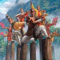 Shaolin monks. Asian fantasy and game inspired art Michael Komarck Illustration