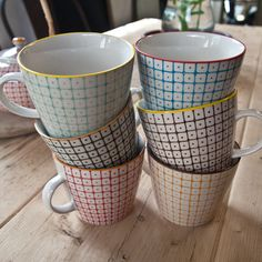 A beautiful set of six coffee cups featuring a colourful hand printed Scandinavian design Dinensions H 8 5cms x W