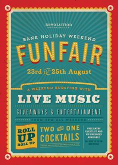 Fun Fair, Circus Graphic Design, Typography, Colourful Poster by www.diagramdesign.co.uk