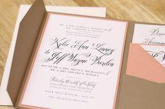 Rustikale Pfirsich Hochzeit Einladung mit Kraft von kxodesign