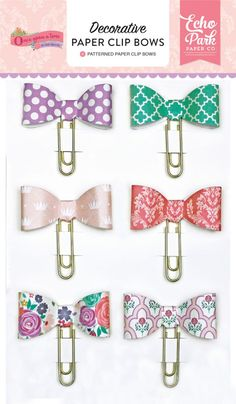 Once Upon A Time-Princess Decorative Paper Clip Bows by Echo Park for Scrapbooks, Cards, & Crafting found at FotoBella.com