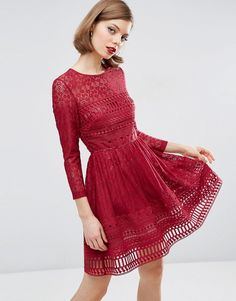 Image 1 ofASOS Premium Lace Skater Dress
