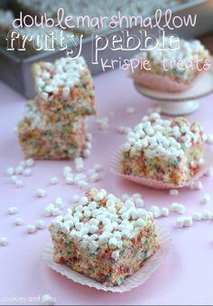 Double Marshmallow Fruity Pebble Krispy Treats