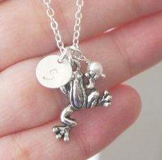 Frog Necklace Frog Charm Necklace Leaping Frog by MadiesCharms, $22.95