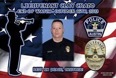 IN MEMORIAM – LT. CLAY CRABB Austin Police Department in Texas has reported that Lt. Clay Crabb, 42, was killed this morning in a two-vehicle crash.  Read More: http://lawenforcementtoday.com/2013/10/17/in-memoriam-%E2%80%93-lt-clay-crabb/