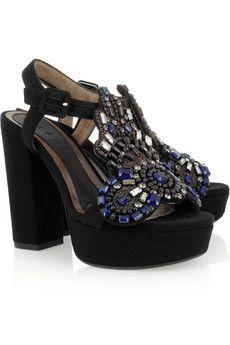 Marni|Embellished crepe-covered platform sandals|NET-A-PORTER.COM - StyleSays