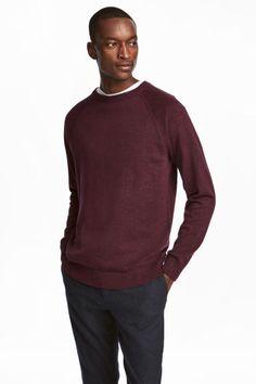 Хлопковый джемпер - Бордовый - Мужчины | H&M RU 1
