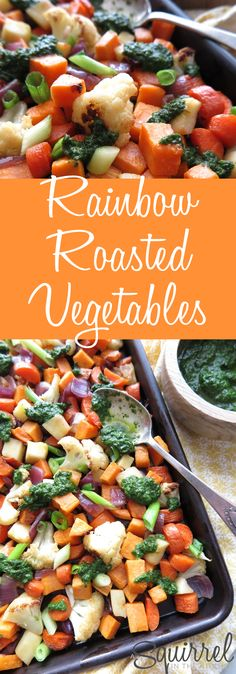 A Squirrel in the Kitchen   Rainbow Roasted Vegetables with Basil-Mint Pesto [Paleo – AIP]   http://asquirrelinthekitchen.com