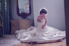 daughter in wedding dress  little girl wedding dress