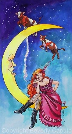 "Saloon Girl On The Moon With Moon Cows! by Beverly Caputo Watercolor ~ 18"" x 11"""