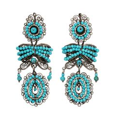 Vibrant Mexican Colonial Design Turquoise Earrings | circa 1910 http://www.1stdibs.com/jewelry/earrings/chandelier-earrings/