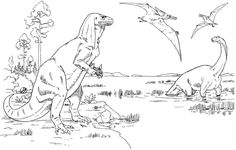 Iguanodon, Cetiosaurus and Pteranodons coloring page from Iguanodon category. Select from 26388 printable crafts of cartoons, nature, animals, Bible and many more.